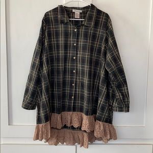 Paisley Vine Green Button Up Flannel Dress